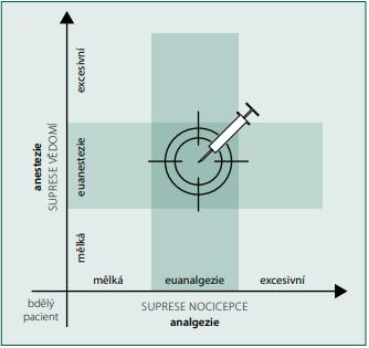 Schematický vztah mezi anestezií a analgezií, euanestezií a eu‑ analgezií (autor V. Rogozov)