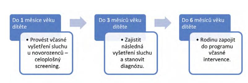 Schéma č. 1: Tři klíčové fáze programu včasné sluchové detekce a zajištění intervence podle JCIH (Joint Committee on Infant Hearing) v USA3 [online]