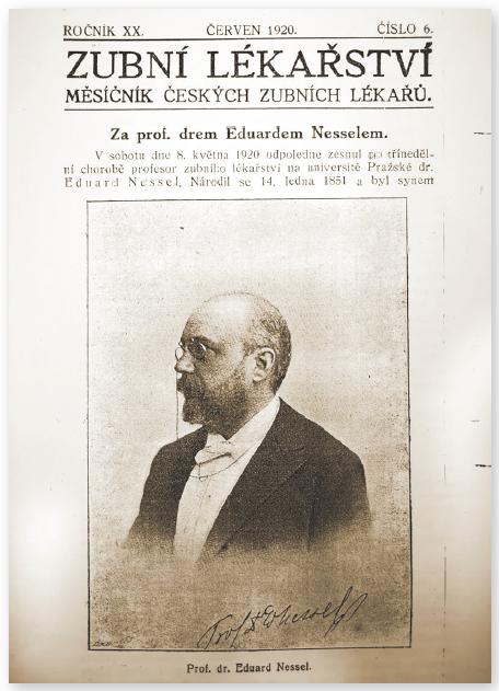 Titulní strana Zubního lékařství s nekrologem Eduarda Nessela z června 1920