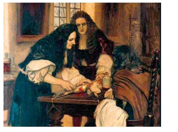"""""""Christopher Wren demonstruje Dr. Willisovi v roce 1667 svoji metodu podání látky do žíly"""". Namaloval Ernest Board, okolo r. 1912. Zdroj: Wikimedia Commons (CC BY 4.0)"""