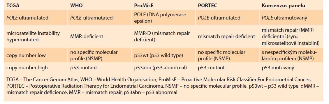 Tab. 4. Klasifikace molekulárních subtypů.<br> Tab. 4. Classification of molecular subtypes.