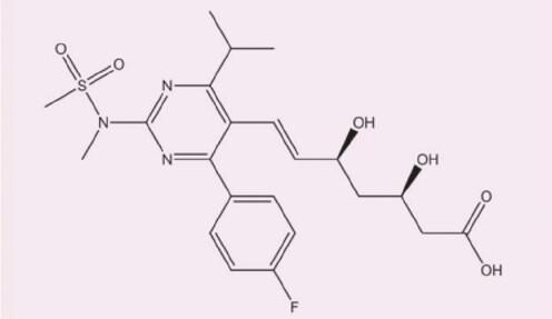 Chemická struktura rosuvastatinu, upraveno dle (8)