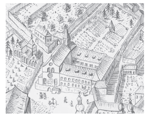 Lazaret při kapucínském konventu v Praze na Hradčanech (budova nalevo od kostela, přístupná po dnes již neexistujícím můstku) (kresba podle Huberova plánu Prahy z roku 1769)