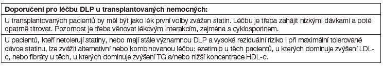 Doporučení pro léčbu DLP u transplantovaných nemocných