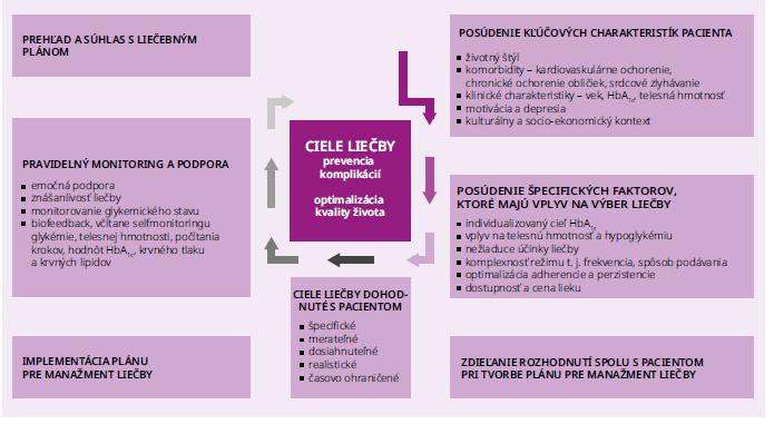 Schéma 1 | Rozhodovací cyklus manažmentu DM2T zameraný na pacienta. Upravené podľa [6]