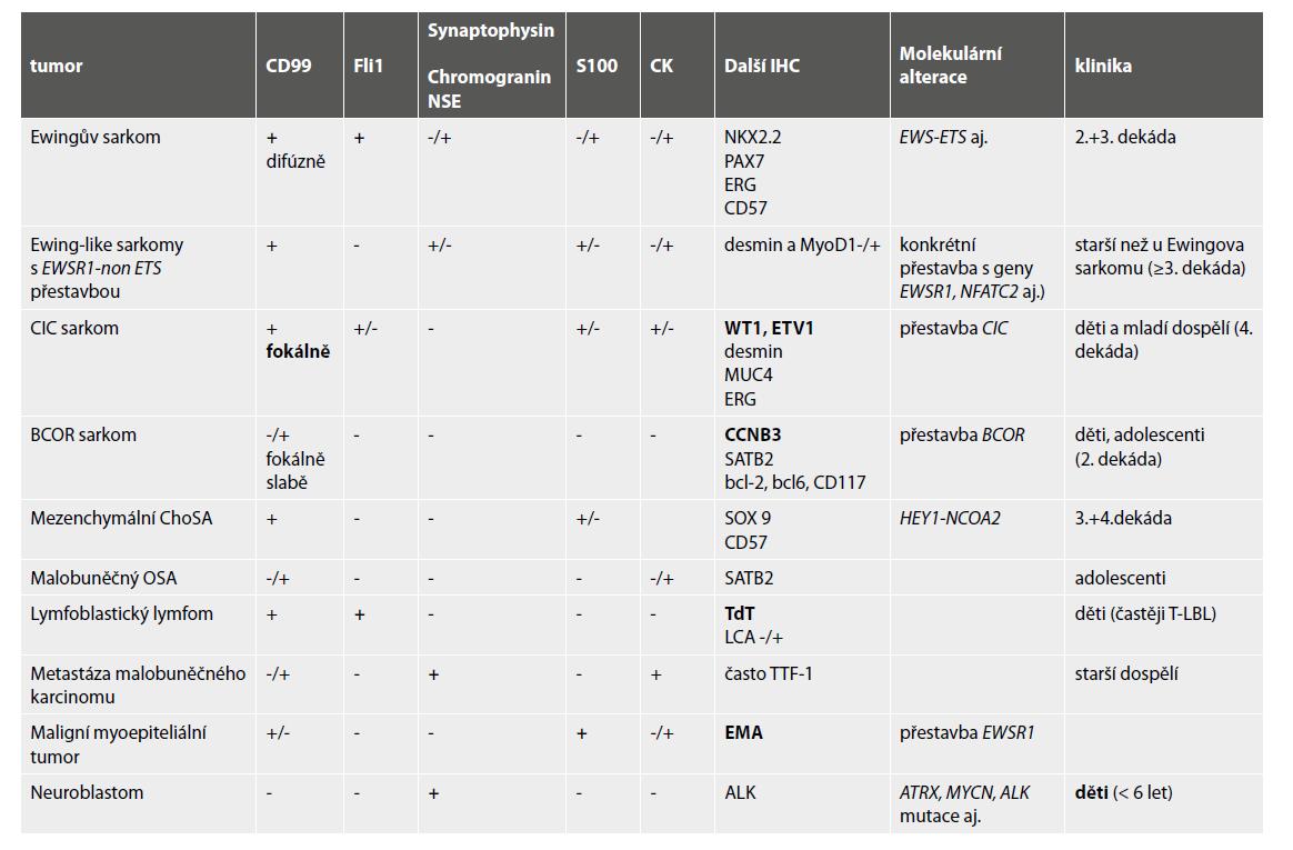 Hlavní diagnostické znaky kulatobuněčných tumorů v kostech.