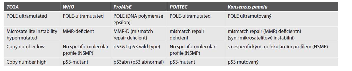 Klasifikace molekulárních subtypů.