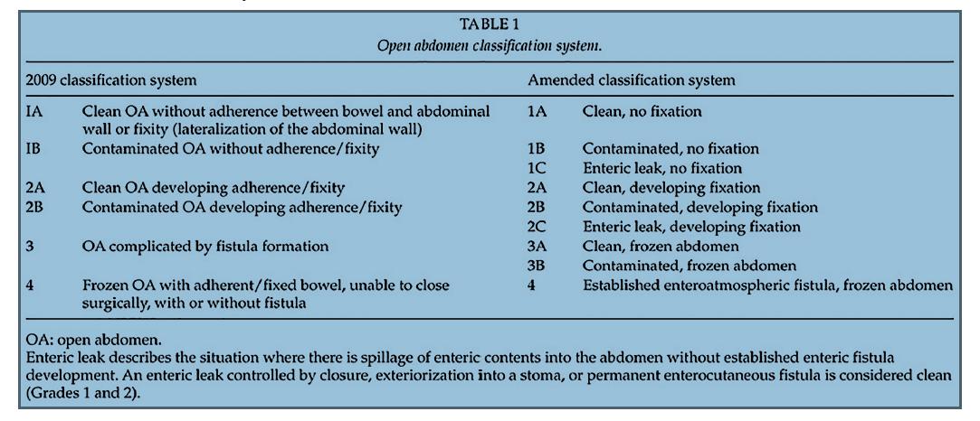 Klasifikace open abdomen [2]<br> Tab. 1: Classification of the open abdomen [2]