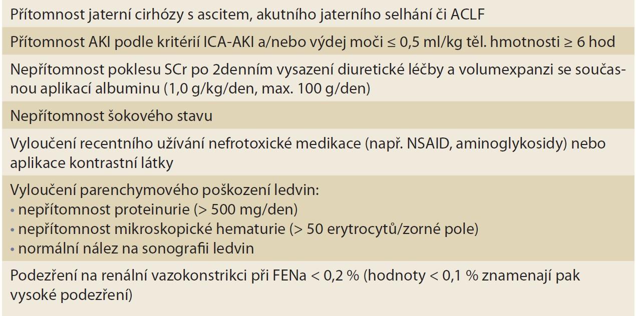 Tab. 2. Diagnostická kritéria HRS-AKI (podle ICA) [28].<br> Tab. 2. HRS-AKI diagnostic criteria (according to ICA) [28].