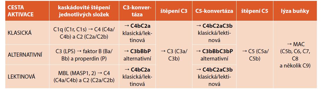 Aktivace komplementového systému klasickou, alternativní a lektinovou cestou.