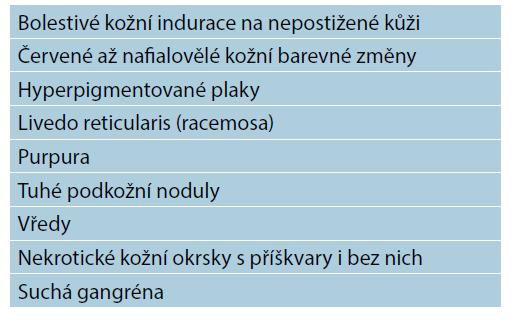 Charakteristické léze u pacientů s kalcifylaxí