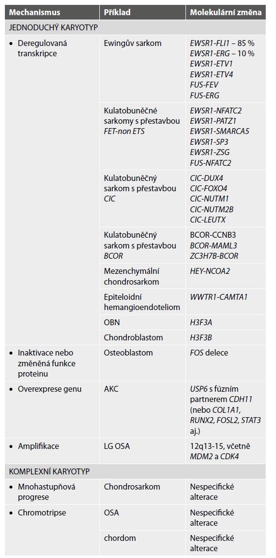 Molekulární subklasifikace kostních tumorů: upraveno dle Lam SW et al.(4) a Sbaraglia M et al (16).