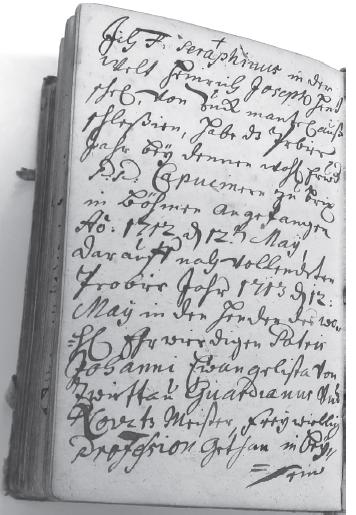 Vlastnoruční rukopis řádového slibu bratra Serafína ze Zlatých hor (NA ŘK, rukopis 314, Liber Neo-Professorum ab anno 1689, fol. 102v)