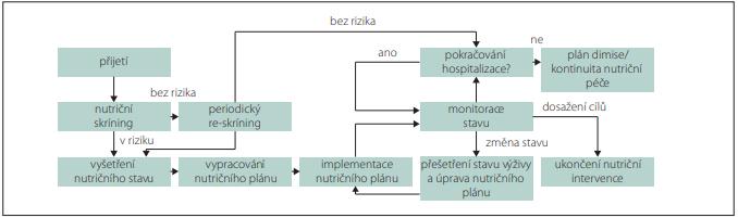 Doporučovaný postup pro nutriční péči v průběhu hospitalizace.<br> Fig. 1. Recommended procedure for nutritional care during hospitalization.