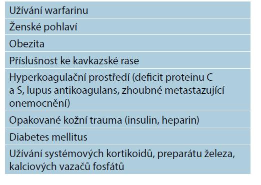 Rizikové faktory pacienta s kalcifylaxí neuremického typu