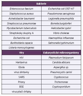 Vybrané patogenní mikroorganismy a viry <br>Table 2. Selected pathogenic microbes