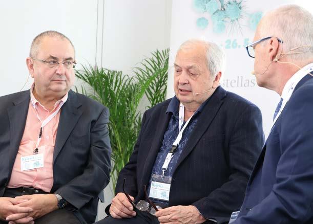 Prof. MUDr. Jindřich Fínek, Ph.D., MHA, prof. MUDr. Luboš Petruželka, CSc., a prof. MUDr. Marek Babjuk, CSc., během natáčení rozhovoru pro KNOU TV. Rozhovory jsou dostupné na www.youtube. com<br> Fig. 3. Prof. Jindřich Fínek, M.D., Ph.D., MHA; prof. Luboš Petruželka, M.D., CSc.; and prof. Marek Babjuk, M.D., CSc., shooting an interview for KNOU TV. The interviews are available at www.youtube. com