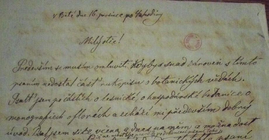 Úvod dopisu od Emanuela otci datovaném v Bělé 16. prosince