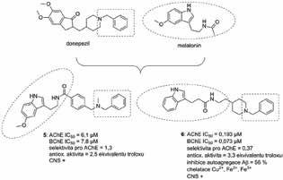 Donepezil-melatoninové hybridní sloučeniny 5 a 6