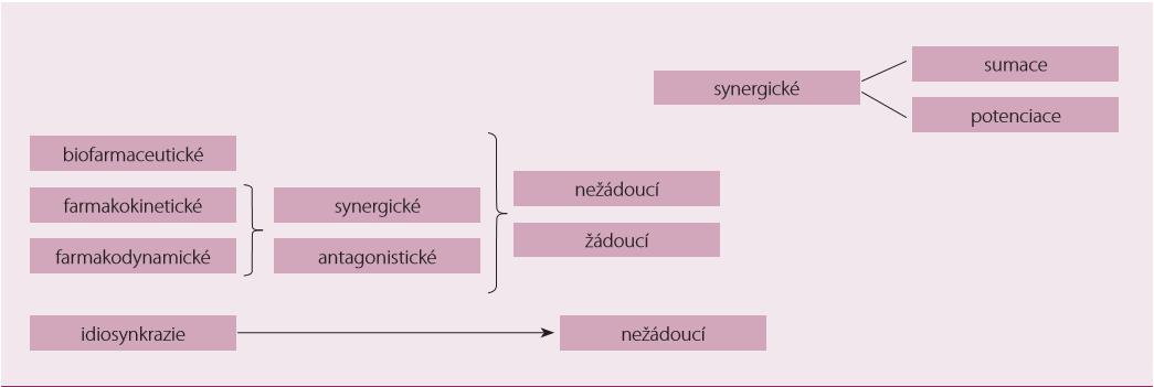 Schematický přehled klasifi kace lékových interakcí.