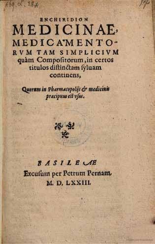 Titulná strana Enchiridion medicinae z roku 1573