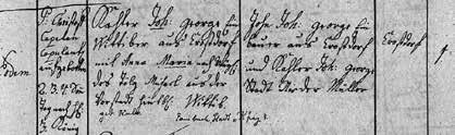 Zápis sňatku Josefových prarodičů J. G. Ch. Kahlera a A. Tölgové (1781)