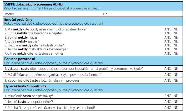 Česká verze SSIPPE dotazníku (14)<br> Fig. 2. The Czech version of the SSIPPE questionnaire (14)
