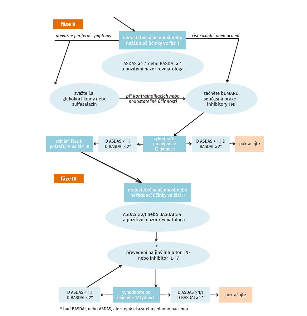 Algoritmus léčby dle ASAS-EULAR (dle van der Heijde D, et al. Ann Rheum Dis 2017; 76: 978–991)