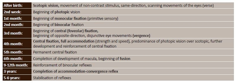 Physiological development of vision