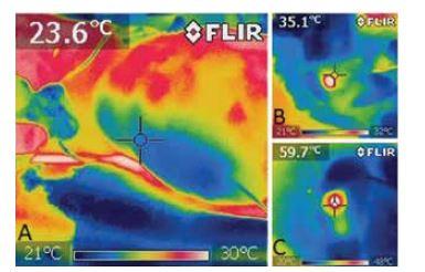Termokamera – při zavádění laserového vlákna do VSP
