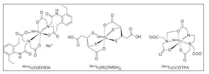 Obr. 9 Komplexy 99mTc(III)EHIDA, 99mTc(III)(DMSA)2 a 99mTc(IV)DTPA. 87,88
