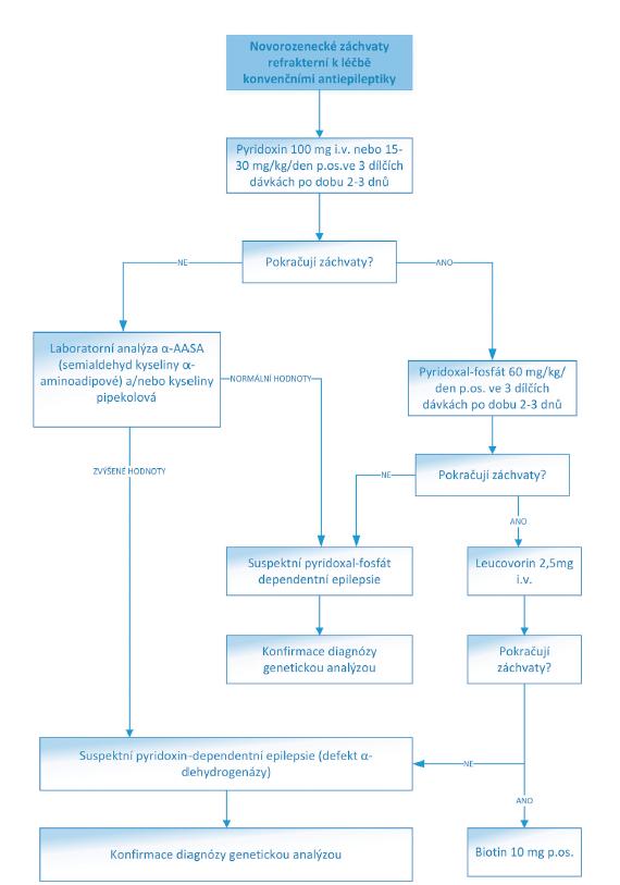 Algoritmus léčby NZ refrakterních ke konvenčním antiepileptikům.<br> (Převzato a upraveno z: https://www.uptodate.com/contents/treatment-of-neonatal-seizures)