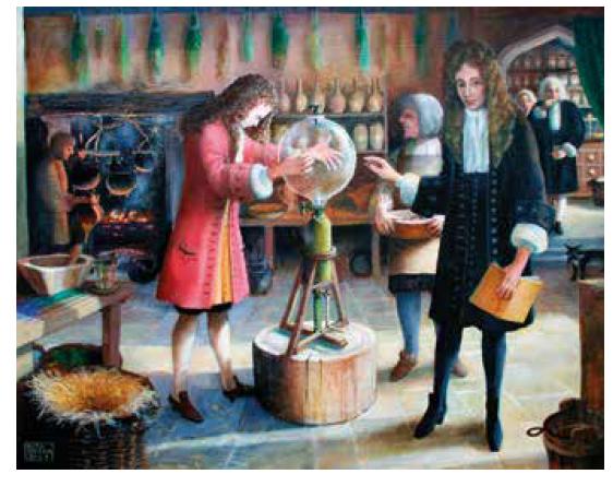 """Obraz """"Učenci"""" od Rity Greerové (2007). Robert Hooke (vlevo) provádí pokus s vývěvou, Robert Boyle (s knihou) dohlíží na průběh. Zdroj: Wikimedia Commons (CC BY 4.0)"""