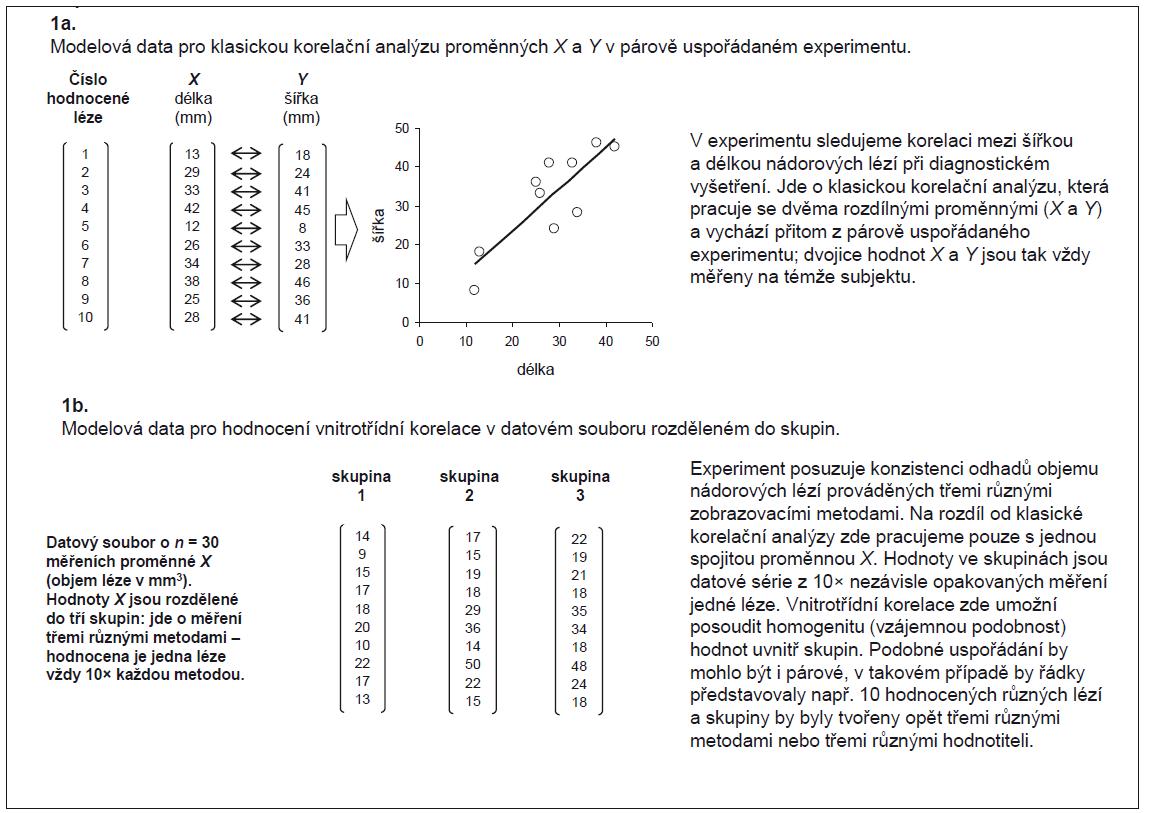 Příklad 1. Schematické znázornění primárních dat pro hodnocení vnitrotřídní korelace – srovnání rozdílů oproti klasické korelační analýze.