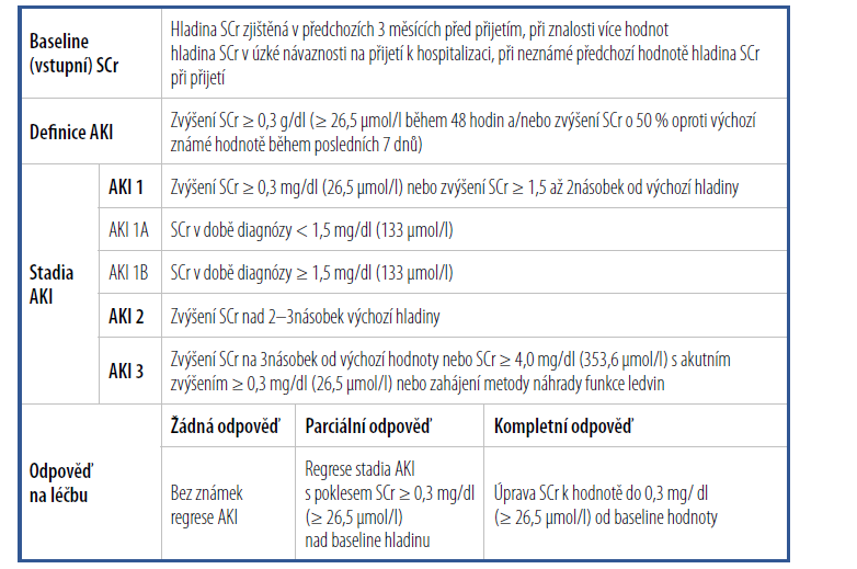 Diagnostická kritéria AKI podle ICA-AKI kritérií [Upraveno podle 11]